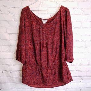 LOFT Semi Sheer Red Patterned Blouse
